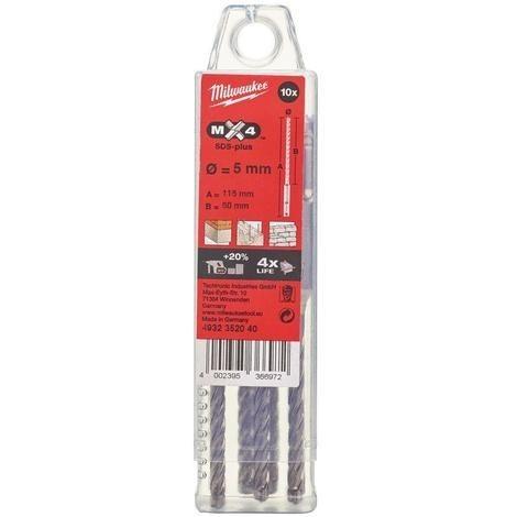 4932352040-Packs de 10 forets beton 5mm MX4 115 mm